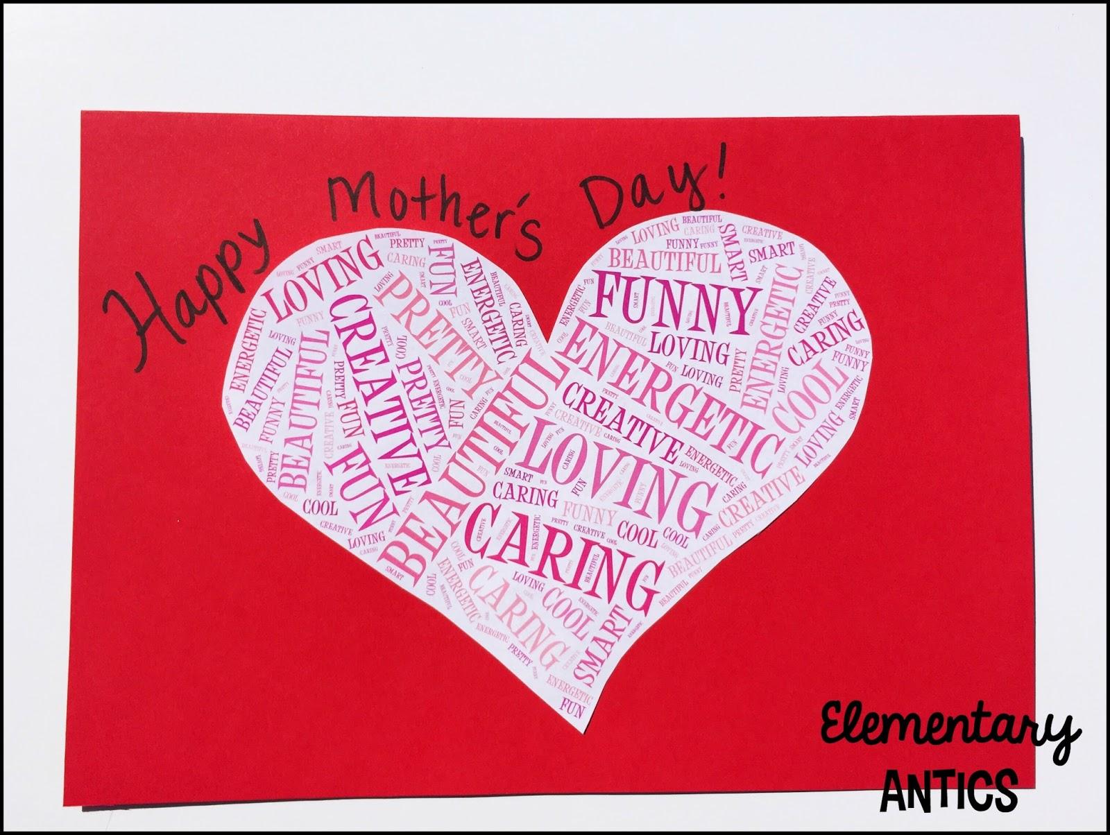 Mothers Day Card Wordles Using Tagxedo Elementary Antics