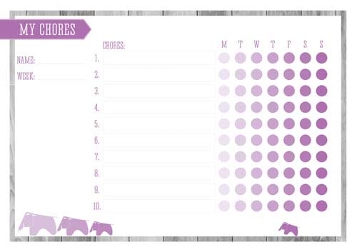 Free Printable Kid's Chore Chart - Radiant Orchid
