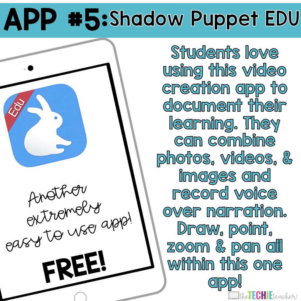 Shadow Puppet Edu App: Students love using this video creation app to document their learning. They can combine photos, videos, & images and record voice over narration. Draw, point, zoom & pan all within this one app!