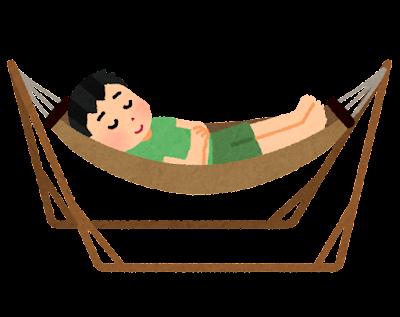 自立式ハンモックで寝る人のイラスト(男性)