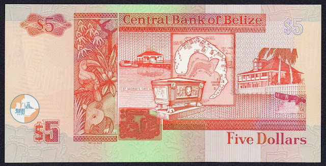 Belize money currency 5 Dollars banknote 2002