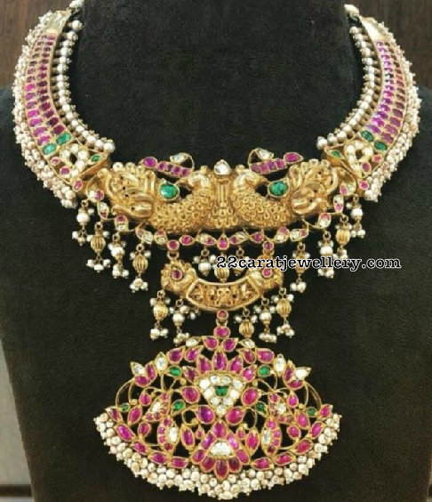 Colorful Kundan Peacock Kante with Pearls