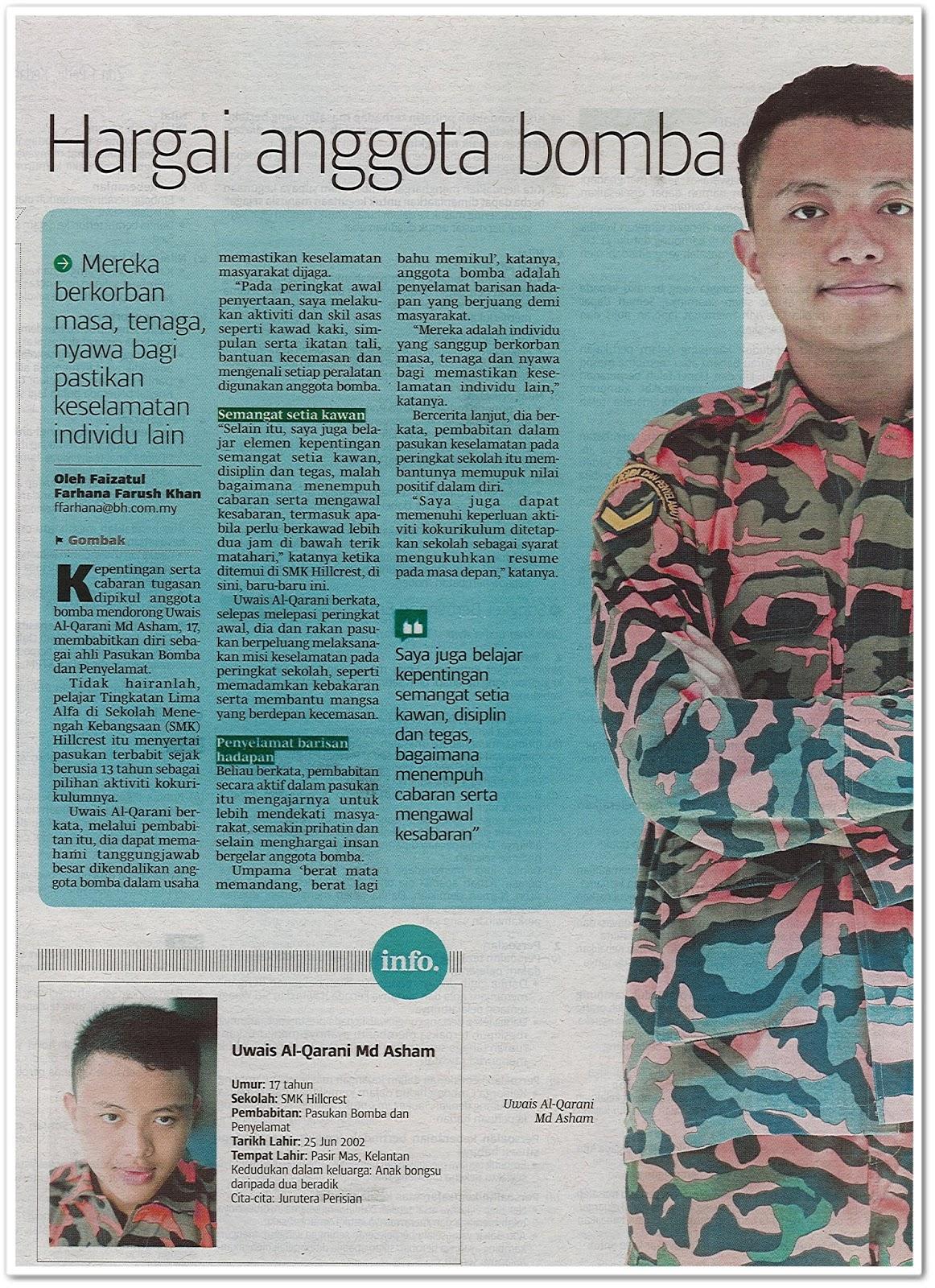 Hargai anggota bomba - Keratan akhbar Berita Harian 6 Mac 2019