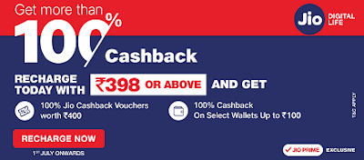 Cashback Offer for Jio Prime Members - Jio new offer