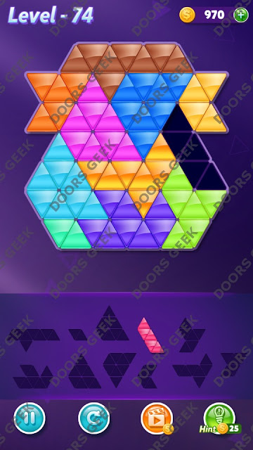 Block! Triangle Puzzle Challenger Level 74 Solution, Cheats, Walkthrough for Android, iPhone, iPad and iPod