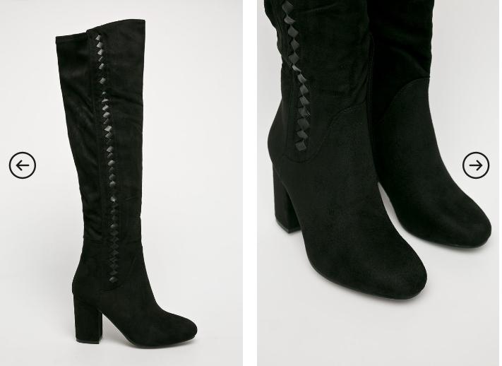 Answear - Cizme frumoase de iarna negre cu toc gros mic piele intoarsa reducere
