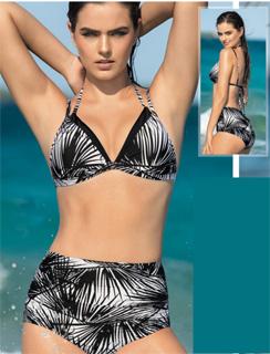 Bikini de panty alto drapeado y top triangular de Leonisa 2017
