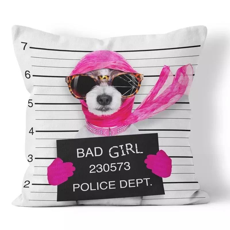 Bad Girl Funny Throw Pillow