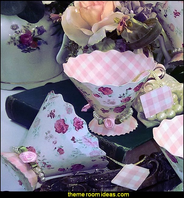 Paper Tea cups, Tea Party Favors  tea party flower garden tea party themed decorations - Floral Fiesta garden party decor -  Victorian garden party - backyard tea party -  Vintage tea party decorations - birthday tea party -  Spring garden Party - Victorian High Tea style  entertaining - Tea party decorations