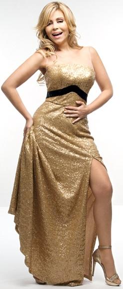 Foto de Gisela Valcárcel con vestido dorado