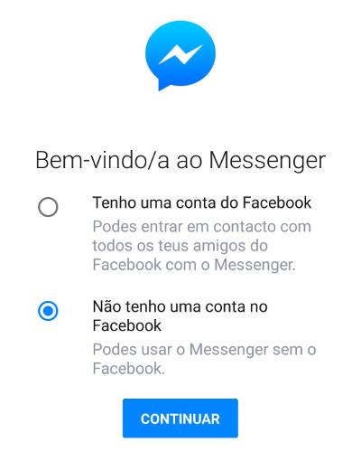 usar messenger sem conta facebook