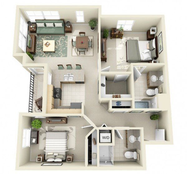 Modern 2 Bedroom 3d Floor Plan Idea