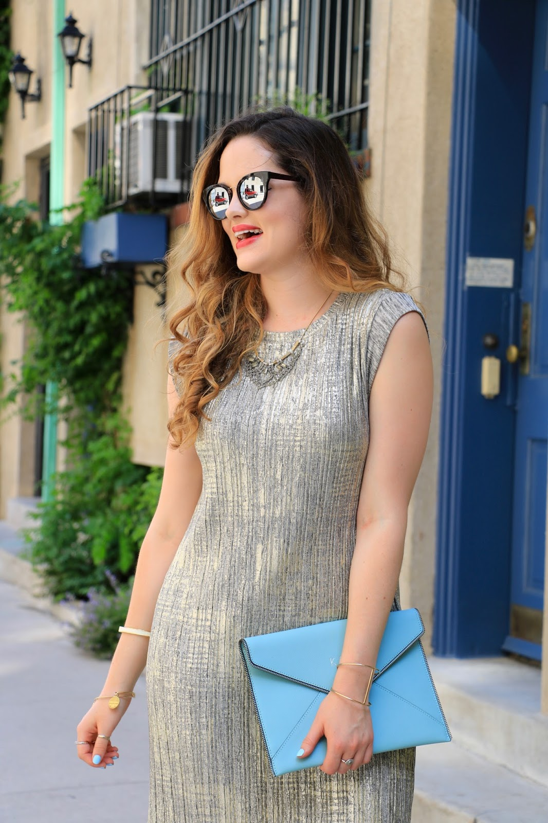 NYC fashion blogger Kathleen Harper of Kat's Fashion Fix wearing gold summer dress