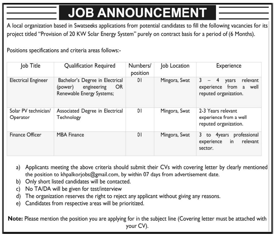 Electrical Engineer & Technician Operator Jobs Local Organization based in Swat 31 May 2017