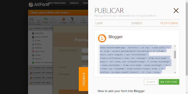 como colocar formulário de contato no blog
