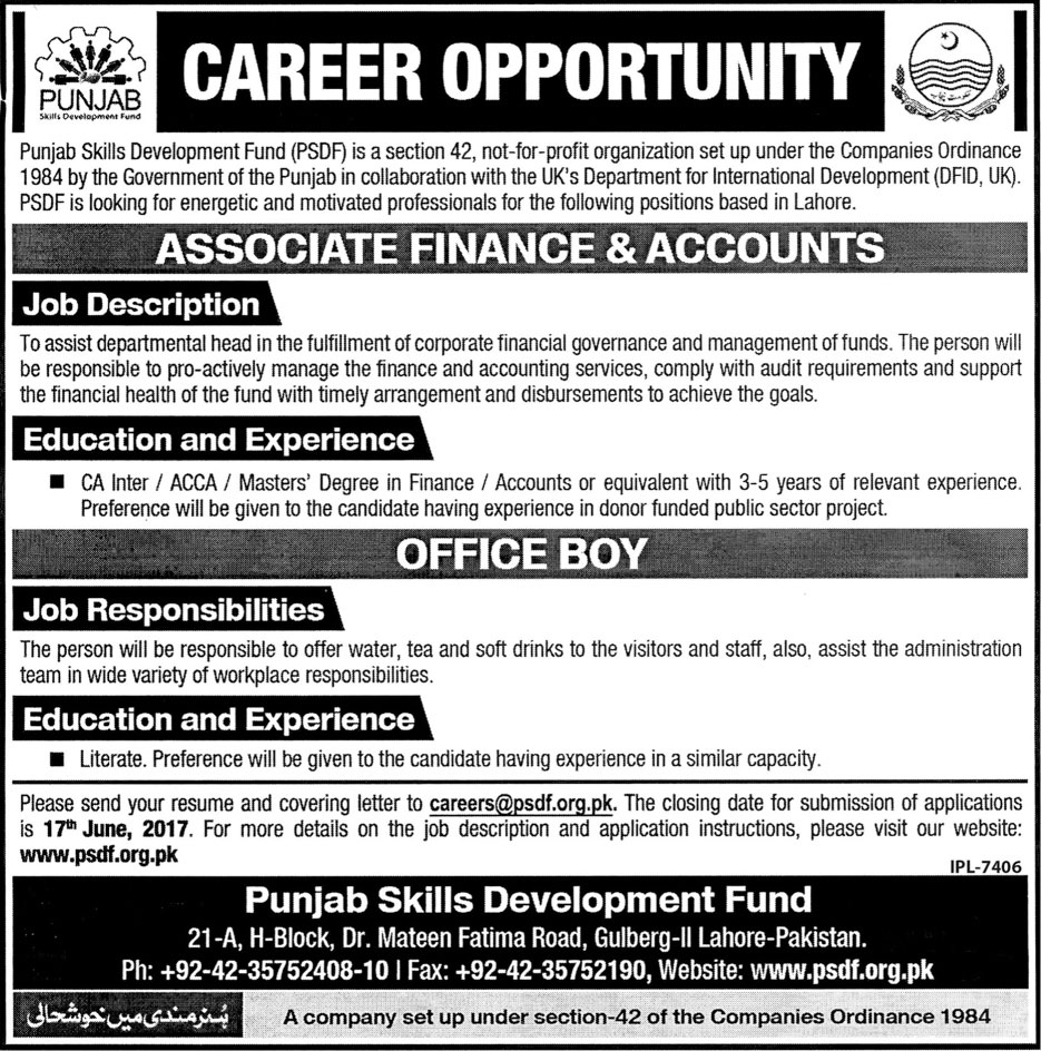 PSDF Jobs Punjab Skill Development Fund Lahore 5 June 2017
