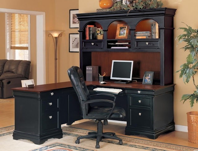 best l shaped rustic black office desk with hutch decorating ideas