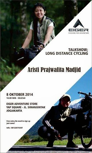 Poster Talkshow Long Distance Cycling Bersama Aristi Prajwalita Madjid