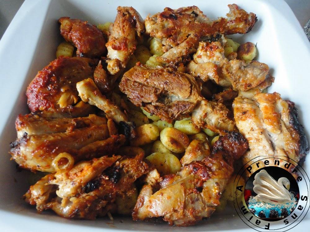 Poulet rôti aux épices et gnocchis croustillants