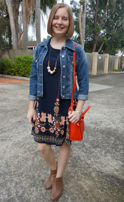 navy floral swing dress shein flowy dress with denim jacket ankle boots red micro avery bag for autumn | away from blue