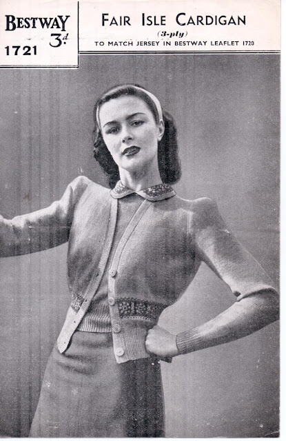 The Vintage Pattern Files: Free 1940s Knitting Pattern - 1721 Fair Isle Cardigan