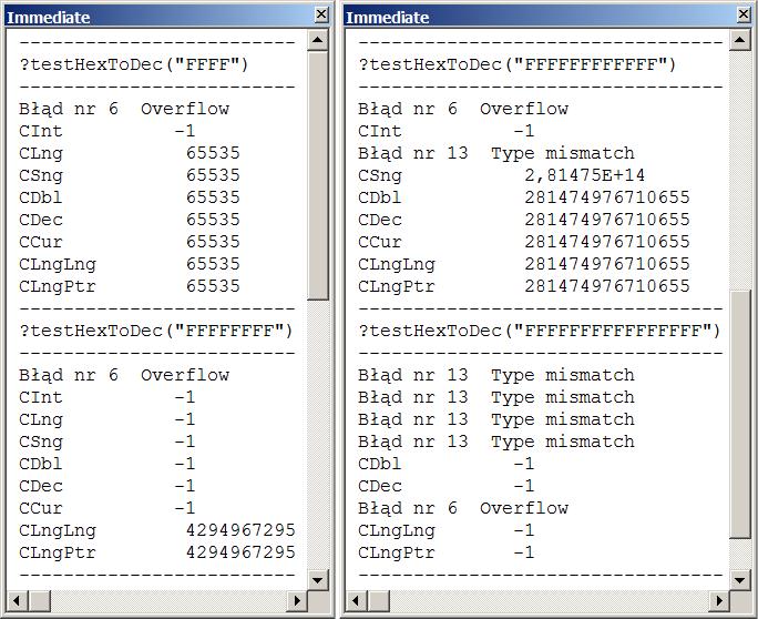 test funkcji HexToDec