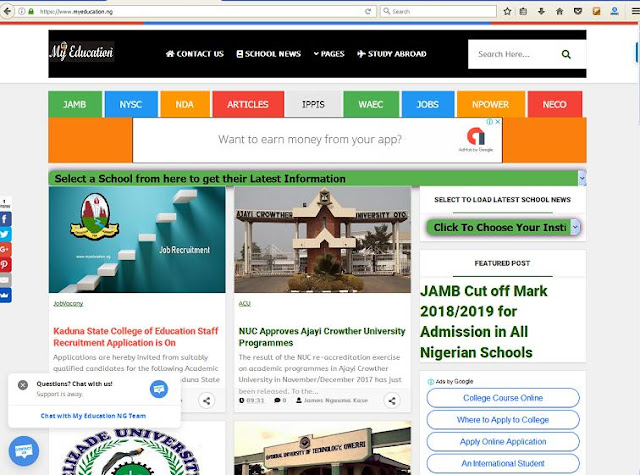 Educational Resource Website in Nigeria Designed