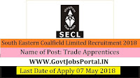 South Eastern Coalfield Limited Recruitment 2018- 672 posts of Trade Apprentices