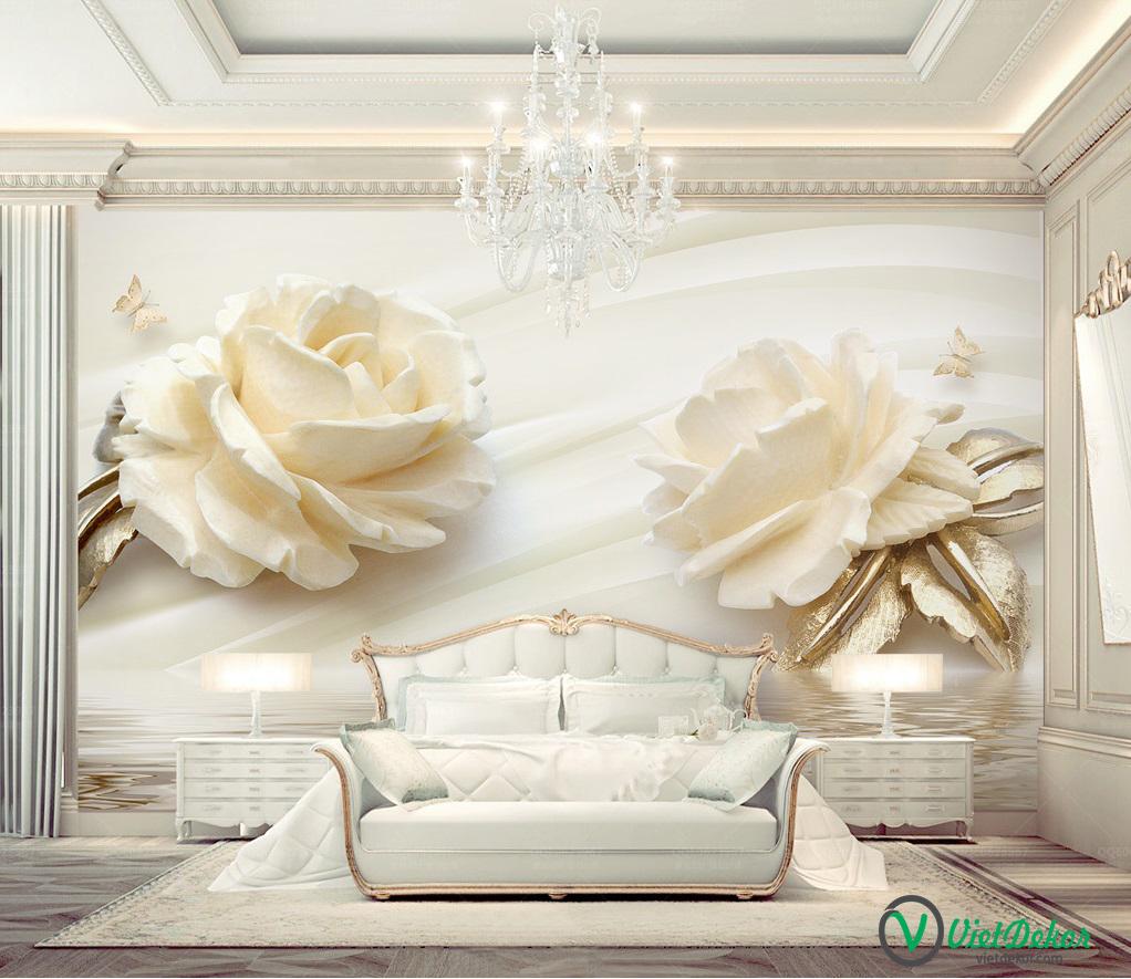 Tranh dán tường 3d hoa hổng trắng