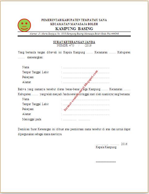 Surat Keterangan Janda dari Kelurahan