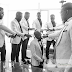 Banky W's Groomsmen Pray for him before heading to the venue of his wedding (Photo)