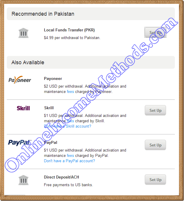 Upwork Payment Methods - Local Bank, Payoneer, Skrill, PayPal, Direct Deposit / ACH