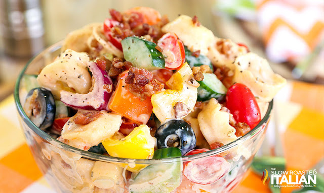 Bacon Ranch Tortellini Salad in a bowl