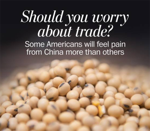 screen cap of WaPo graphic showing a pile of dried soybeans accompanied by text reading: 'Should you worry about trade? Some Americans will feel pain from China more than others.'