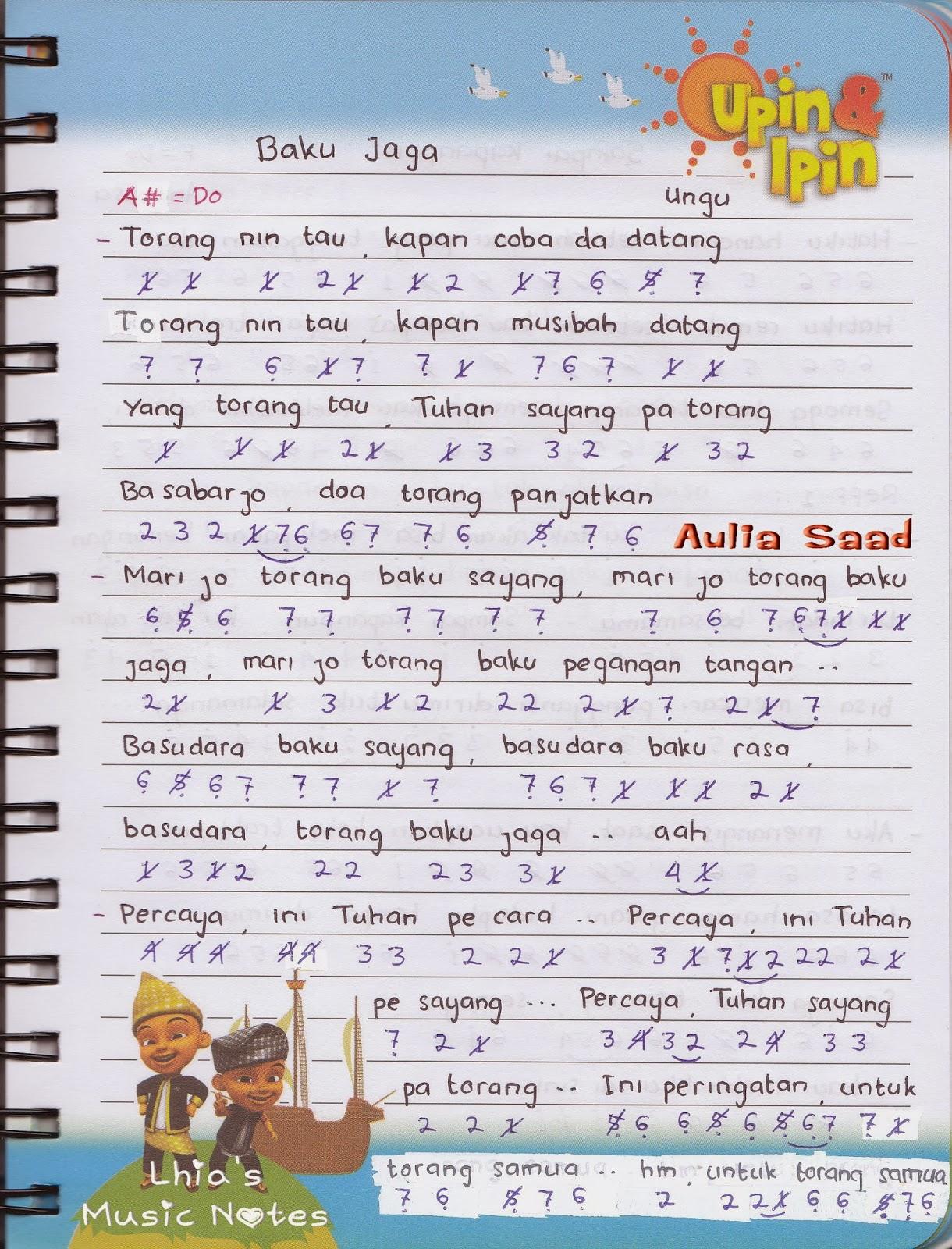 Lirik Lagu Baku Jaga : lirik, Angka, (Song, Manado), Aulia's, World