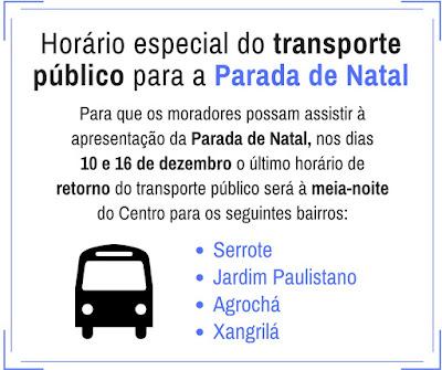 """Horário especial do transporte público para a """"Parada de Natal"""" em Registro-SP"""