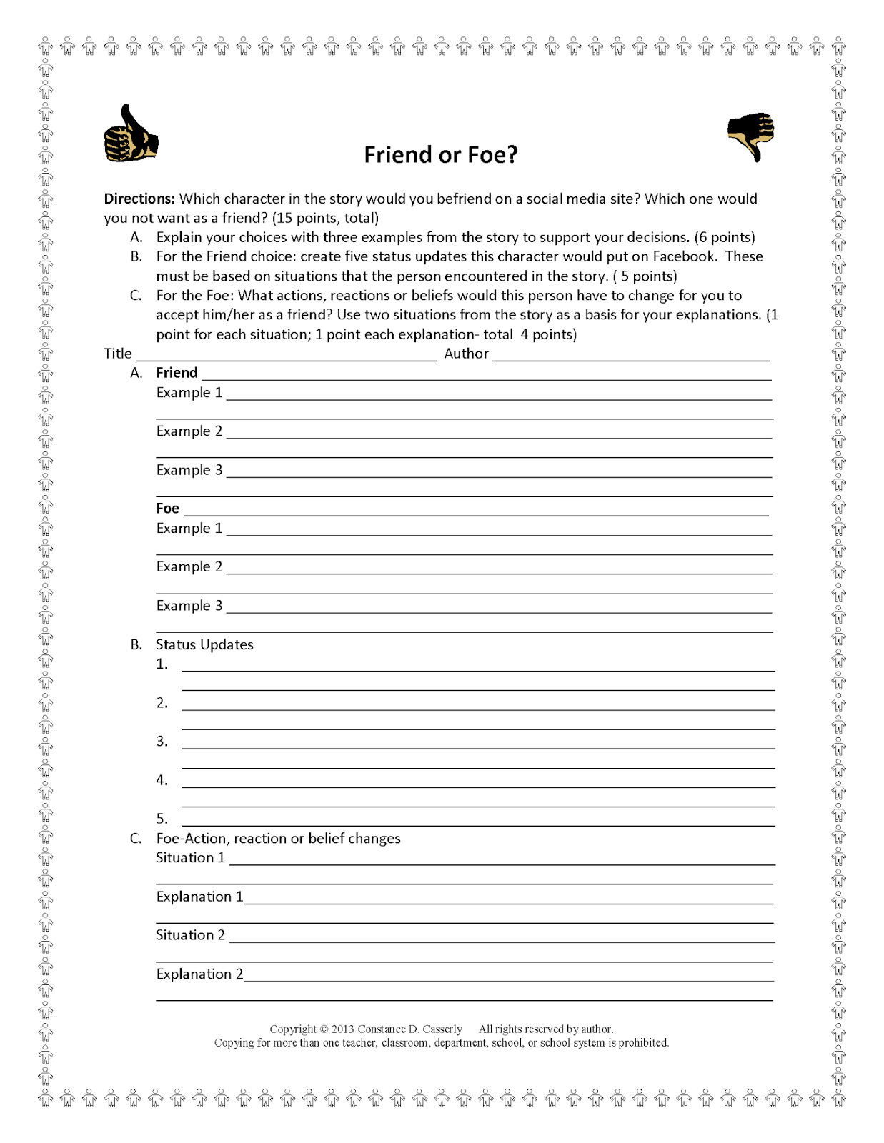 Teach It Write Activities Foryzing Character