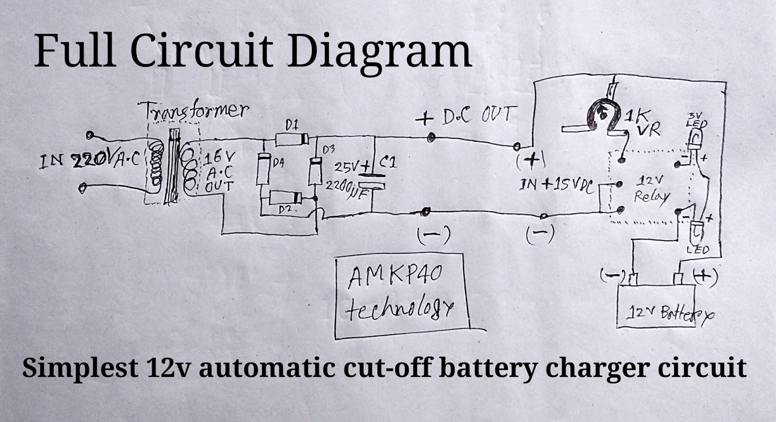 How To Make 12 Volt Automatic Cut Off Battery Charger Circuit Diagram