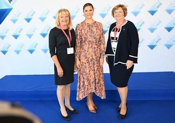 Crown Princess Victoria wore H&M print silk dress and Gianvito Rossi pumps, and Kreuger Jewellery rose gold poppy earrings