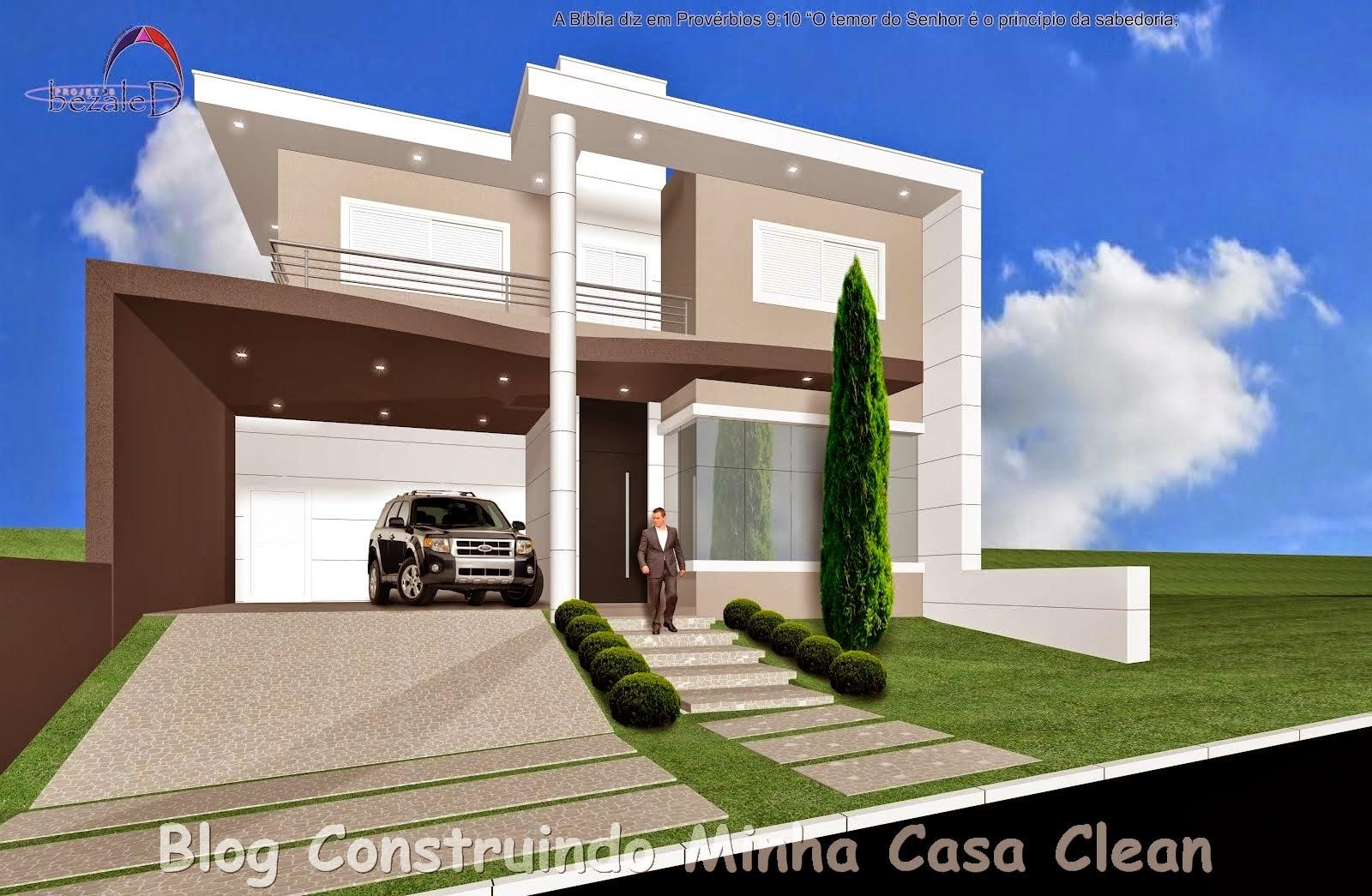 Construindo minha casa clean top 10 fachadas de casas modernas com paisagismo e muros - Fachada de casa ...