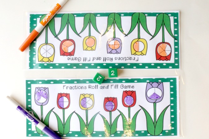 printable fractions game for kids
