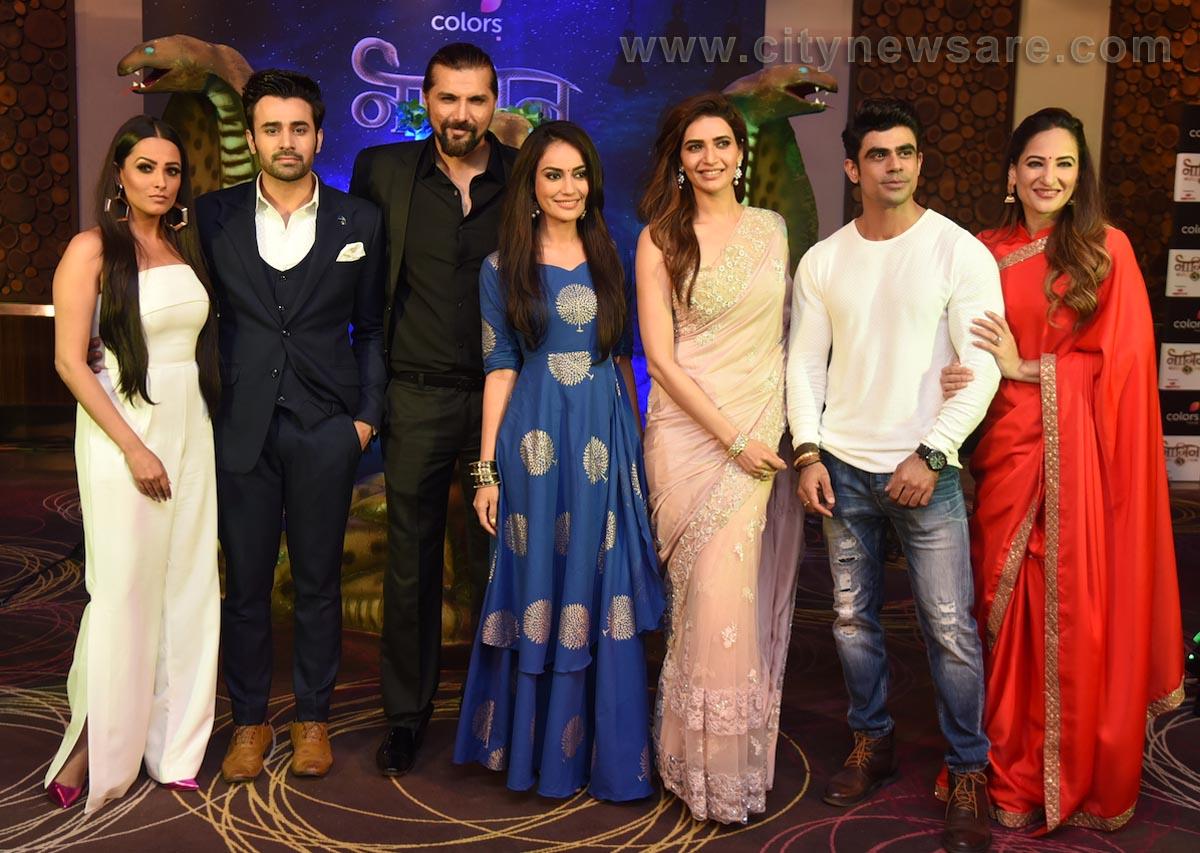From left Anita Hassanandani, Pearl Puri, Chetan Hansraj, Surabhi Jyoti, Karishma Tanna, Ankit Mohan and Rakshanda Khan at the launch of COLORS' Naagin 3