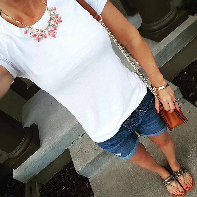 Rocksbox Perry Street Jenna Necklace, Mossimo Tee, Gap Factory boyfriend shorts, Rebecca Minkoff Love Crossbody Bag in brown