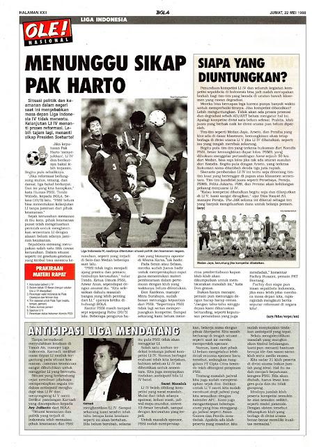 SEPAKBOLA LIGA INDONESIA 1998 MENUNGGU SIKAP PAK HARTO
