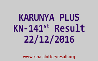 KARUNYA PLUS KN 141 Lottery Results 22-12-2016