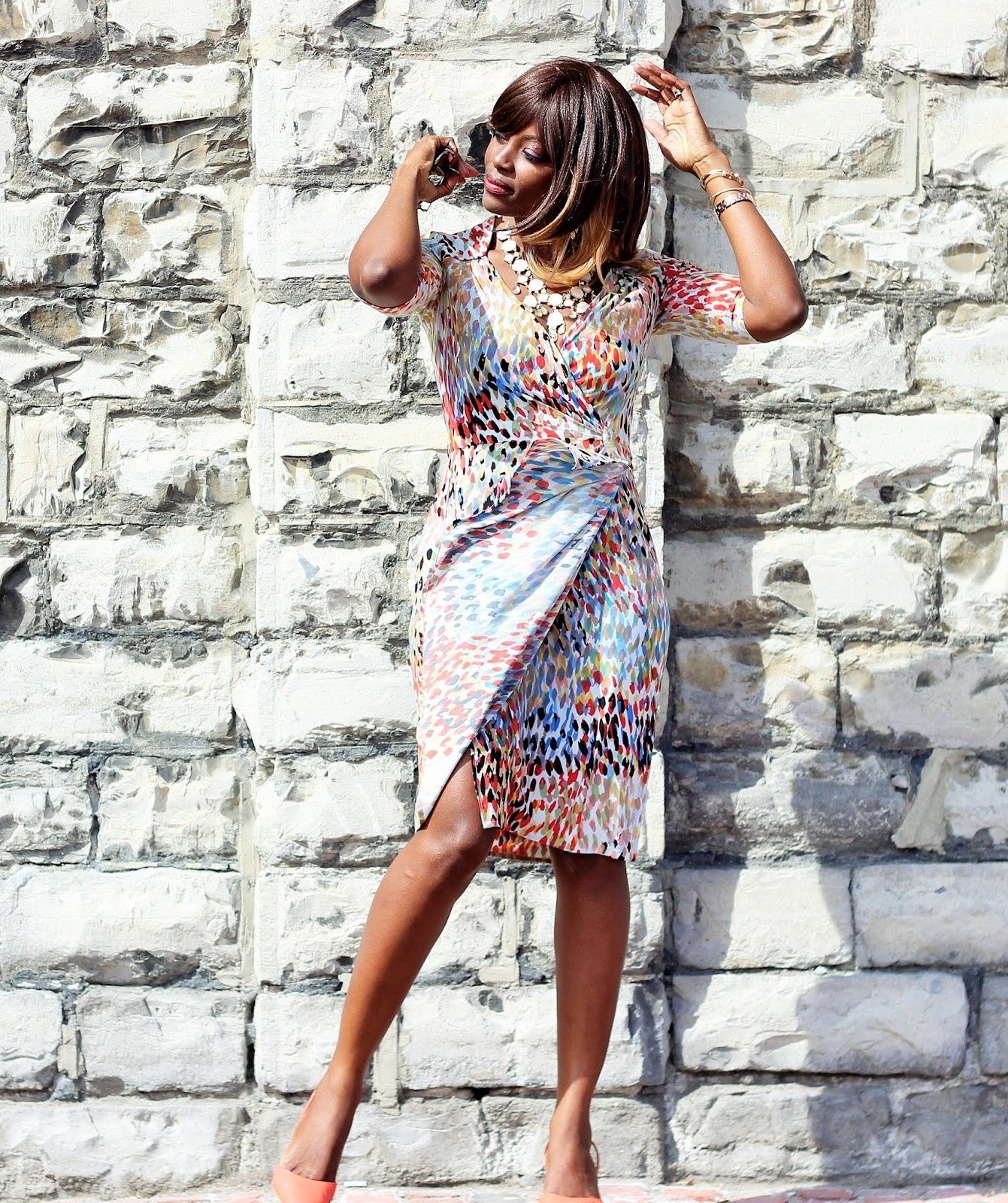 Printed Wrap Dress by Maggie London via Winners
