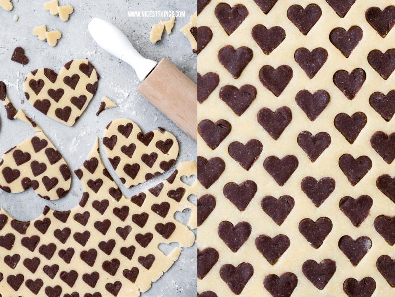 Zweifarbige Herz Kekse backen