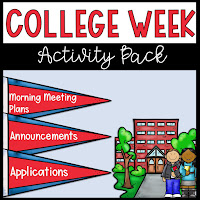 TpT College Week activity pack for elementary students