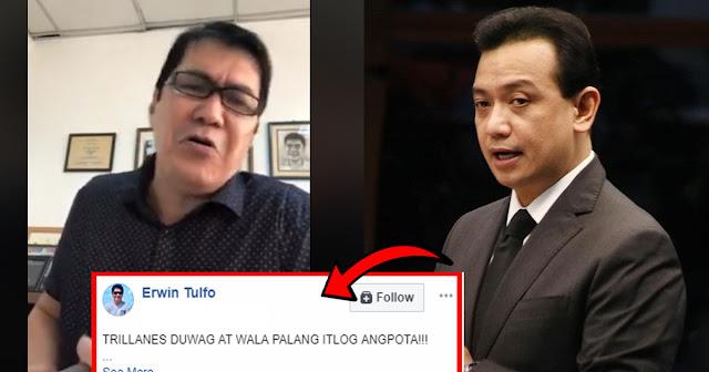 Erwin tulfo hits Trillanes: Duwag at wala palang itlog ang P*ta !