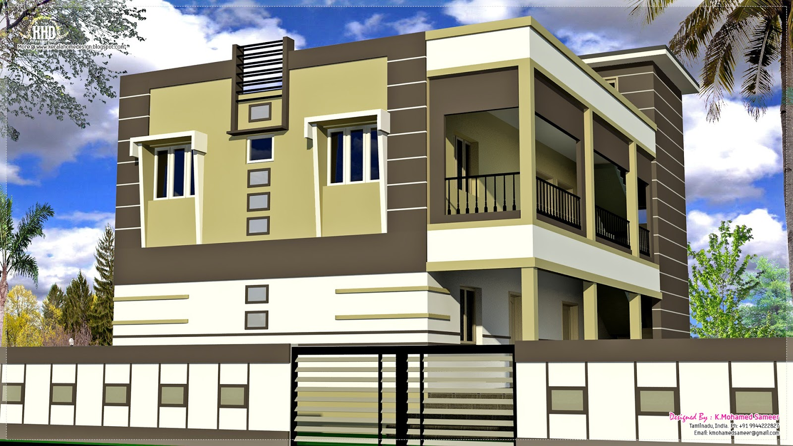 Front Elevation For 2 Floor Building : South indian house exterior designs home kerala plans